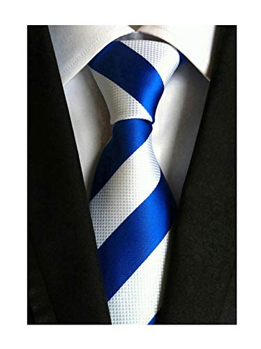 (Elfeves Men's Wide Stripe Blue and White Jacquard Woven Silk Tie Formal)