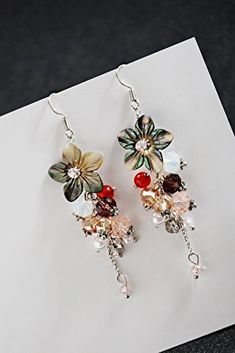Flowers Shell Earrings (Generic Bohemia vacation wind Korean diamond flower vine shells hand-beaded crystal earrings earrings women girls lady)