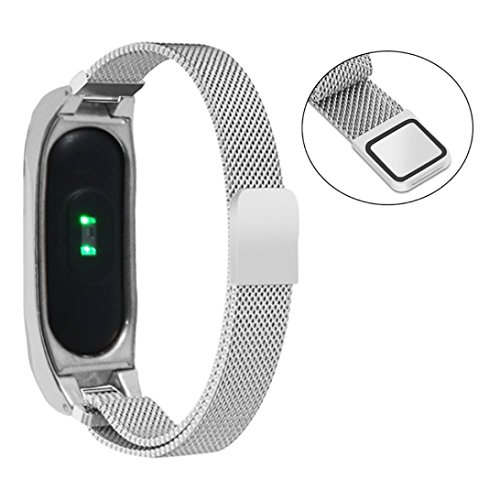 Price comparison product image Hunputa Ultra Slim Milanese Stainless Steel Watch Band Bracelet Strap + Metal Case For Xiaomi Mi Band 2 (Silver)