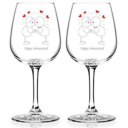 Happy Anniversary! Set of 2 Red or White Wine Glasses (12.75 oz.)- Romantic Glassware Gift Set - Made in USA – Cool Present Idea for Wedding Anniversary, Married Couples, Him or Her, Mr. or Mrs.