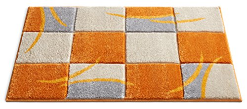 uby Orange Joy Modern Geo Squares 2' x 3' Mat Accent Area Rug ()