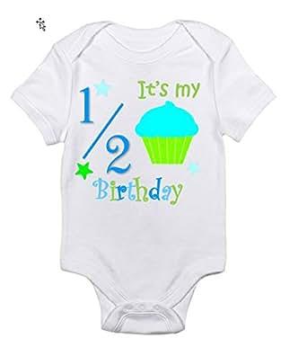 Bambino Apparel's Baby Its My Half Birthday Bodysuit, 6 Months, White