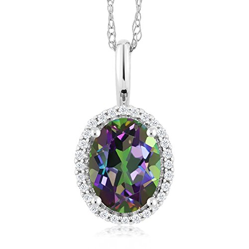 (Gem Stone King 10K White Gold 1.30 Ct Oval Green Mystic Topaz and Diamonds Pendant With)