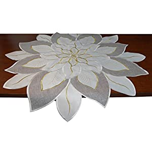 EcoSol Designs Embroidered Holiday Table Topper (White Poinsettia)