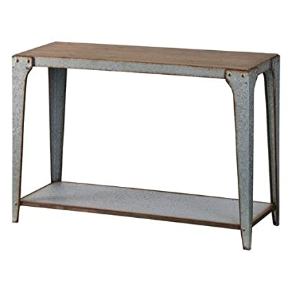 251 First River Station Galvanized Metal Console Table With Wood Top