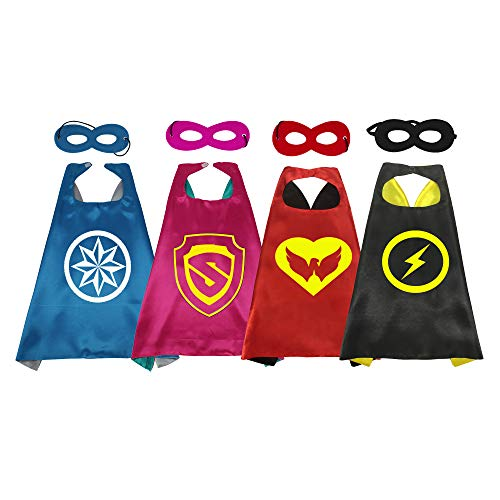 (RANAVY Hero Capes and Masks Bulk Set Dress Up for Kids Superhero Party Birthday Party Costumes (4PCS)