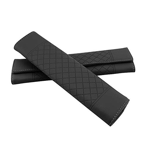 U&M 2pcs Seat Belt Covers, Leather Car Belt Protector Shoulder Seatbelt Pad for Adults Youth Kids - Car, Truck, SUV, Airplane,Carmera Backpack Straps - by (Black)