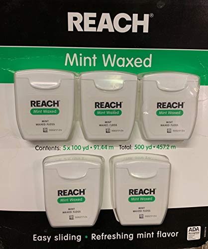 Johnson & Johnson Reach Mint Waxed Dental Floss, 5 Count