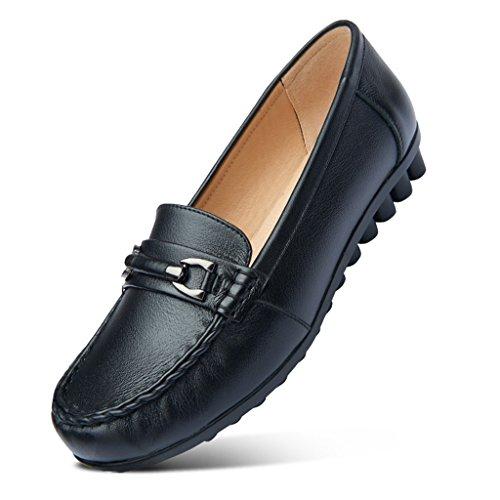 ZCJB Zapatos De Mujer Zapatos De Guisantes Zapatos De Mamá De Cabeza Redonda Zapatos De Cuero Solos Zapatos Planos Zapatos De Mediana Edad Y Edad ( Color : Negro , Tamaño : 37 )
