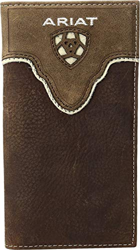 (Ariat Men's Distressed Shield Inlay Rodeo Western Wallet, Brown One)