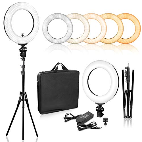 Limo Studio 14 inch Dimmable Ring Light LED Dual Color Continuous Lighting for Charming Eyes and Beauty Facial Shoot, Photo Studio Salons Beauty Shop Selfie Light Stand,AGG2860