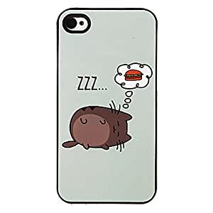 SUMCOM Fat Cat and Hamburger Pattern Aluminous Hard Case for iPhone 4/4S