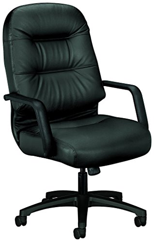 HON Leather Executive Chair – Pillow-Soft Series High-Back Office Chair, Black H2091