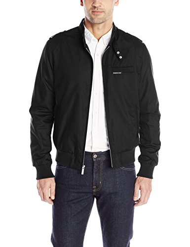Members Only Men's Original Iconic Racer Jacket, Black, X-Large