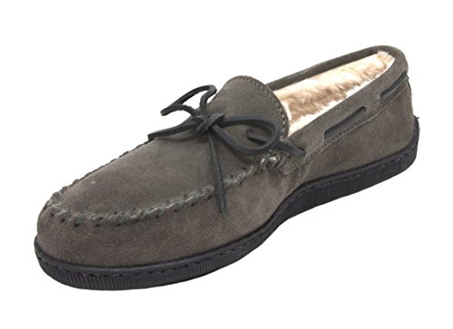 Minnetonka Men's Pile Lined Hardsole Slipper (11 D(M) US, Grey) from Minnetonka