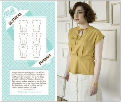 Colette Sewing Pattern, Sencha Blouse Top Size 2 - 20 (UK): Amazon ...