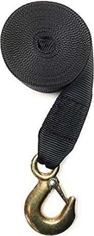 Winch Strap with Hook for Boat Trailer Heavy Duty Replacement Capacity 5,600. Lbs Black Nylon 2 inch Wide x 20
