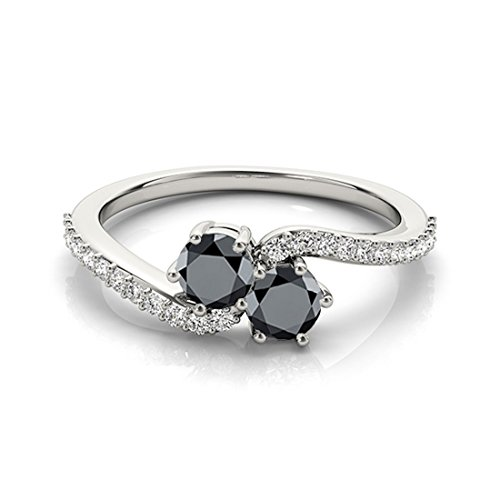 1Ct. Two Stone Black Diamond Engagement Ring Crafted In 14k White Gold (1 Carat Black And White Diamond Ring)