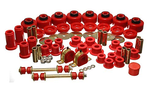(Energy Suspension 3.18128R Hyper-Flex System; Red; Incl. Front Control Arm Bushing; Front Sway Bar Bushings And End Links; Rear Spring And Shackle Bushings; Body Mount; Performance Polyurethane;)