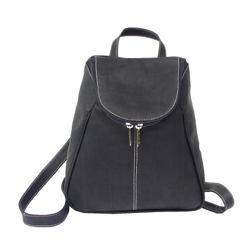 Piel Leather Side Zip Backpack - Piel Leather U-Zip Backpack, Black, One Size