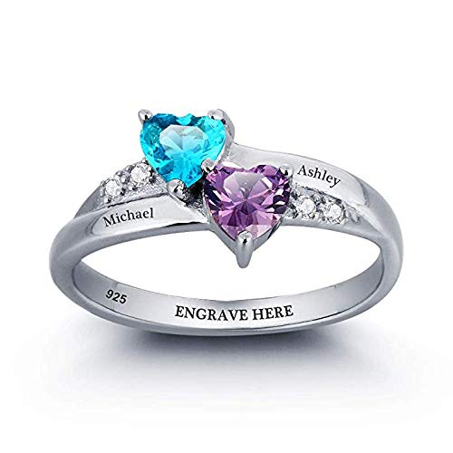 Engagement Ring Promise Ring For Her Couples 2 Heart Birthstones 2 Names and 1 Engraving Customized and Personalized Size 7.5
