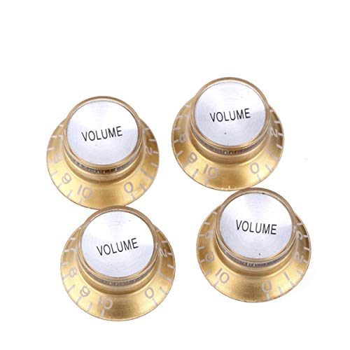 (Musiclily Pro Imperial Inch Size Top Hat Bell Reflector Volume Knobs for USA Made Les Paul SG Electric Guitar, Gold with Silver Top (Set of 4))