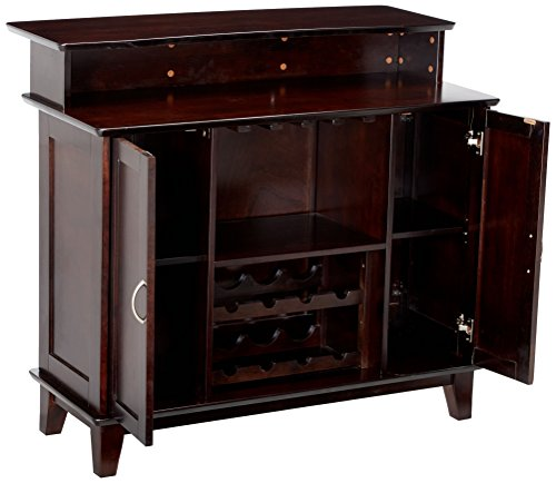 Home Bar Cabinetry 2-door Bar Unit with Wine and Stemware Storage Cappuccino home bar cabinetry