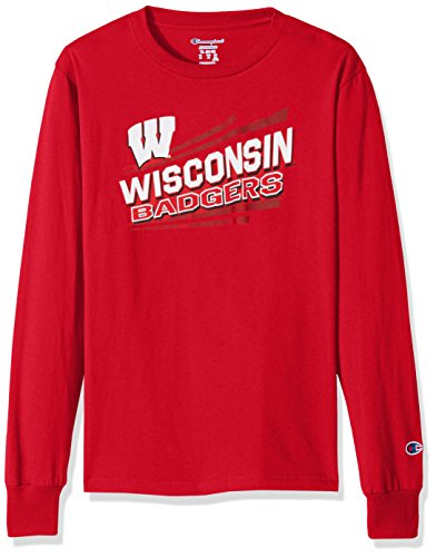 NCAA Wisconsin Badgers Youth Boys Long sleeve Jersey Tee, X-Large, Scarlet