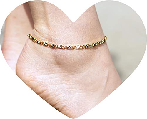 Lifetime Jewelry Ankle Bracelet [ 24k Gold Plated Diamond Cut Star Flat Link Chain ] Durable Anklets for Women Men and Teen Girls - Foot Chains with Free Lifetime Replacement Guarantee 9 10 11 inches