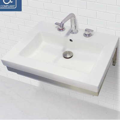 (DECOLAV 1819W-8P-CWH Lilac Wall-Mount Lavatory Rectangular Wall-Mount Lavatory Sink with Polished Stainless Steel Mounting Bracket, White)