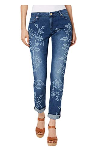 (Michael Michael Kors Women's Stretch Floral-Print Cropped Jeans in Regular and Petite, Antique Wash (6 Petite))