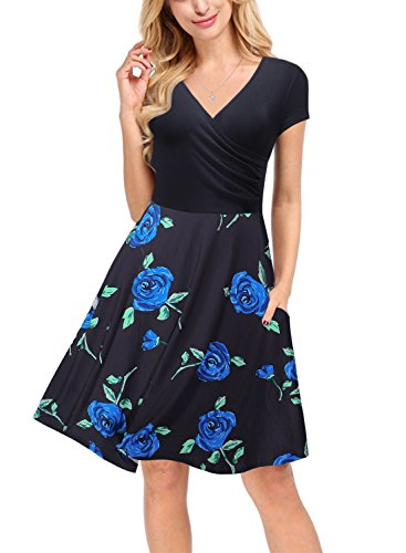 Arolina Women's V Neck Cap Sleeve Cocktail Party Swing Dress Pockets (XX-Large, (Two Pocket Cap)