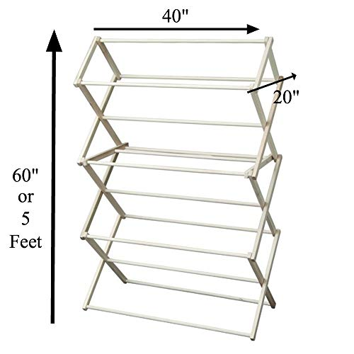 Amish Craftsman Foldable Wooden Clothes Drying Rack, Handmade Collapsible Racks for Hanging Laundry, Wash Cloths, or Towels