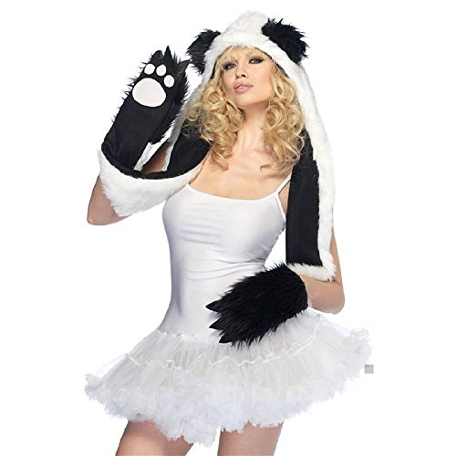 Plush Panda Bear Hood Adult Teen Junior Hooded Paw Scarf Halloween Costume