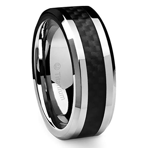 Cavalier Jewelers 8MM Men's Titanium Ring Wedding Band Black Carbon Fiber Inlay and Beveled Edges [Size 15]