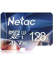 Netac Carte mémoire microSDXC, 128G Haute Vitesse UHS-I Carte Micro SD jusqu'à 100MB/S, A1, U3, C10, V30, 4K, 667X Carte TF pour Drone/Dash Cam/Camera/Phone/Nintendo-Switch/PC/Tablette