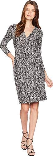 Anne Klein Women's Classic Wrap Dress Black/Oyster Shell Combo XXS (Women's (Abstract Print Jersey Dress)