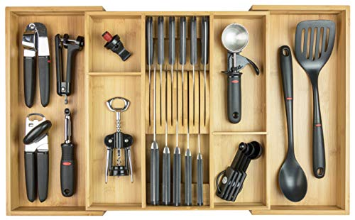 KitchenEdge Cutlery Tray Utensil Organizer for Kitchen Drawers, Expandable to 28 Inches Wide, Built-In Knife Block Holds 11 Knives, 100% Bamboo