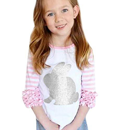 MILIMIEYIK Boy Dinosaur Print T-Shirt Baby Toddler Little Girls Easter, St. Patrick's Day, Easter Raglan Fashion Tee Top Pink