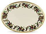 Lenox Holiday Tartan Gold Banded Ivory China 13 Oval Platter