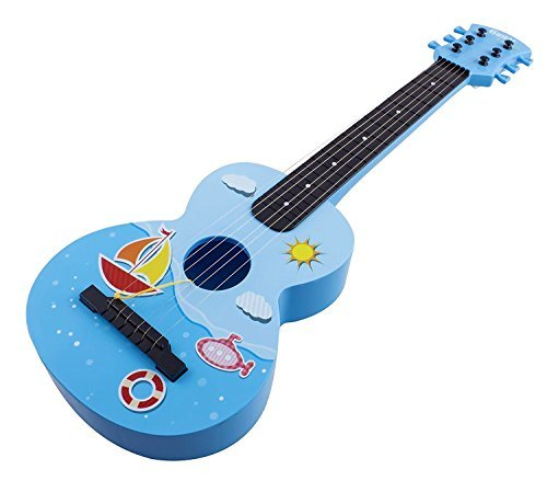 Toy Guitar Rock Star 6 Stringed Toy Guitar Musical Instrument w/ Guitar Pick Vibrant Colors Acoustic Kids Children's Tunable Vibrant Sounds Ukulele (Blue)