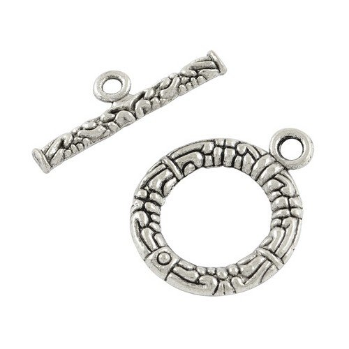 Packet of 10 x Antique Silver Tibetan 21 x 22mm Clasp and Toggle Sets - (HA12065) - Charming Beads