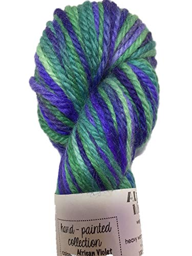Artisan Yarns Hand Dyed Baby Alpaca Yarn, Hand Paited African Violet, Heavy Worsted Weight, 100 Grams, 102 Yards, 100% Baby Alpaca