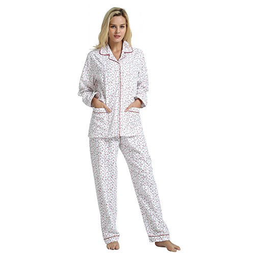 GLOBAL Women's Sleepwear Set, 100% Cotton Long Sleeve Button Down Pajama Set With Top - Piece Flannel Button 2 Pajamas