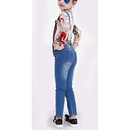 Soojun Girls Casual Denim Bibs Light Wash Blue Jean Overalls