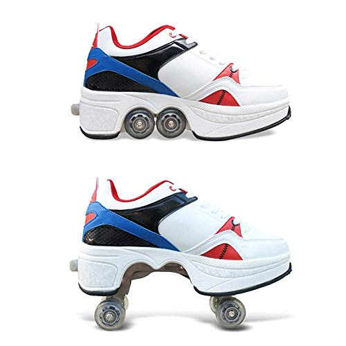 MLyzhe Deformation Roller Shoes Invisible Pulley Male and Female Skating Shoes with Double-Row Deform Wheel,43