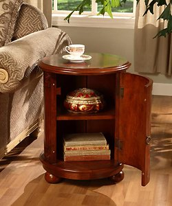 Birch Drum Table. This Decorative Accent table Features a Storage Area with Two Shelves and Antique Handle. With it's wine barrel table Shape It gives Maximum Room for your Stored Items Like Other End Tables and Coffee Tables, It Looks great next to Livin