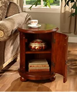 birch drum table this decorative accent table features a storage area with two shelves and