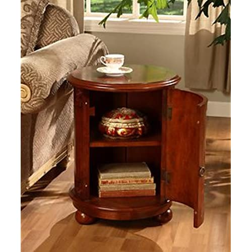 Birch Drum Table. This Decorative Accent Table Features A Storage Area With  Two Shelves And Antique Handle. With Itu0027s Wine Barrel Table Shape It Gives  ...