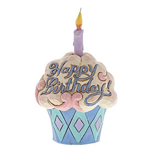 Enesco (4052066) Jim Shore Heartwood Creek Mini Birthday Cupcake Stone Resin Figurine, 3.75